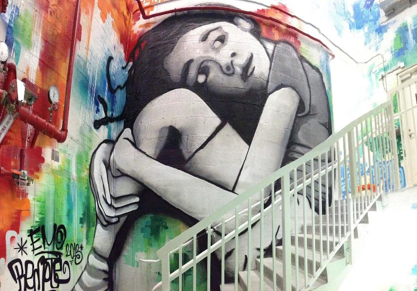 Colaboration with j bellicchi stairwell mural hallandale for Downtown hollywood mural project